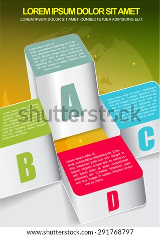 Abstract business background with four columns graph and with world map  - stock vector