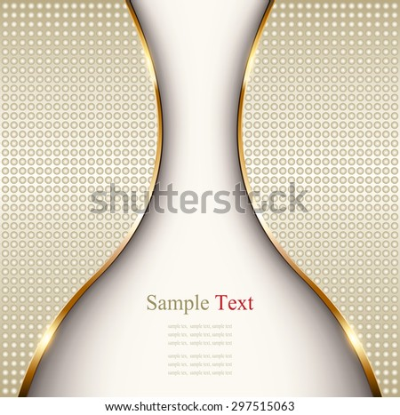 Abstract business background with gold wave and dotted pattern, vector - stock vector
