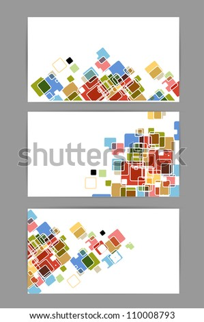 abstract business cards cube bright color vector background - stock vector