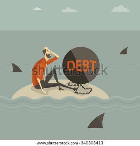 Abstract business concept of despondent, The man be trapped on the island, with a chain tied to the large steel letter DEBT, surrounded by sharks. Vector illustration cartoon modern style. - stock vector