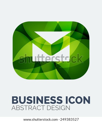 Abstract business logo, curve, flowing pieces design with shadows - stock vector