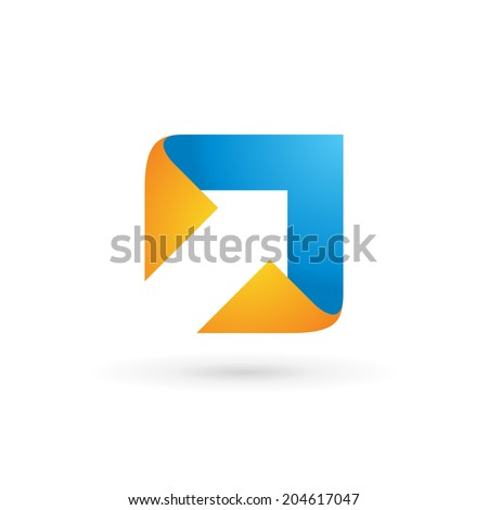 Abstract business logo icon design template with arrow. Vector color sign. - stock vector