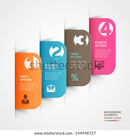 Abstract business paper cut infographics number template. Vector illustration. can be used for workflow layout, diagram, business step options, banner, web design - stock vector