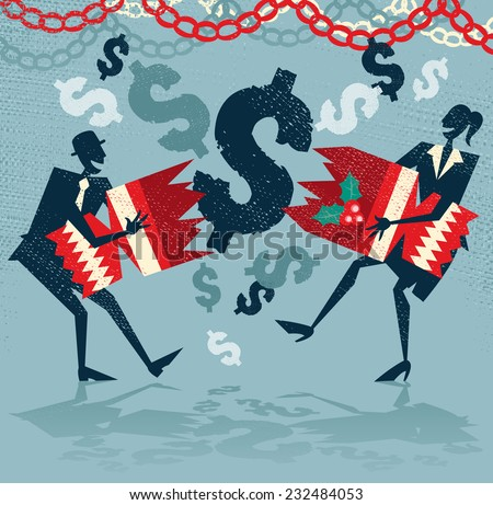 Abstract Business People pull a Christmas Cracker with US Dollars. - stock vector