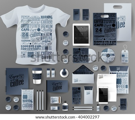 Abstract  business set. Corporate identity templates, notebook, card, flag, T-shirt, disk, package,  label, envelope, pen, Tablet PC, Mobile Phone, matches - stock vector