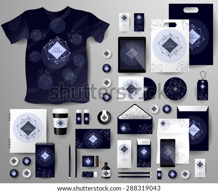 Abstract  business set in cosmic polygonal style. Corporate identity templates, notebook, card, flag, T-shirt, disk, package,  label, envelope, pen, Tablet PC, Mobile Phone, matches, ink - stock vector