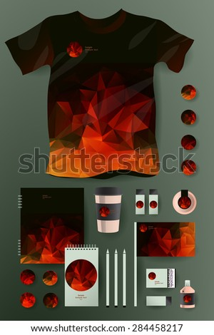 Abstract  business set in polygonal style. Corporate identity templates, notebook, card, flag, T-shirt, package, matches, ink, pencil, paper cup, invitation card - stock vector
