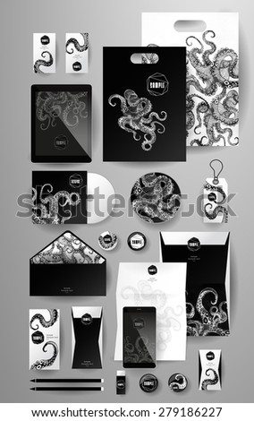 Abstract  business set with octopus. Corporate identity templates, card, disk, package, label, envelope, pen, Tablet PC, Mobile Phone, pencil, folders for documents, invitation card - stock vector