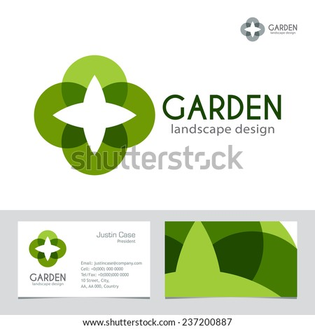 Abstract Business sign & Business Card vector template. Vector icon & corporate identity template for landscape design / architecture, natural organic product line labeling, recycle, garden. Editable. - stock vector