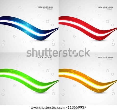 abstract business technology four colorful wave vector - stock vector