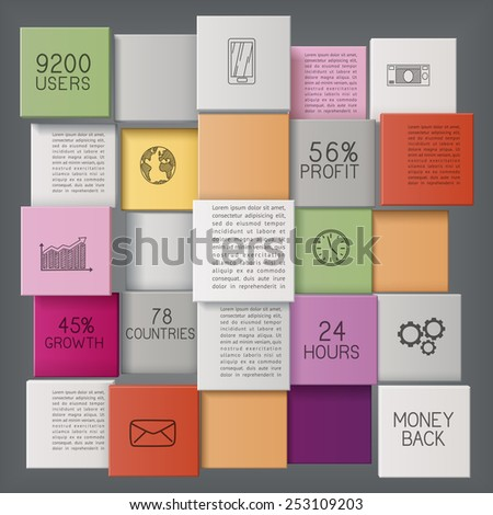 Abstract business template or user interface with colorful bars/infographic  template with copy space, EPS 10 contains transparency.  - stock vector