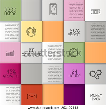 Abstract business template or user interface with colorful squares/infographic  template with copy space, EPS 10 contains transparency - stock vector
