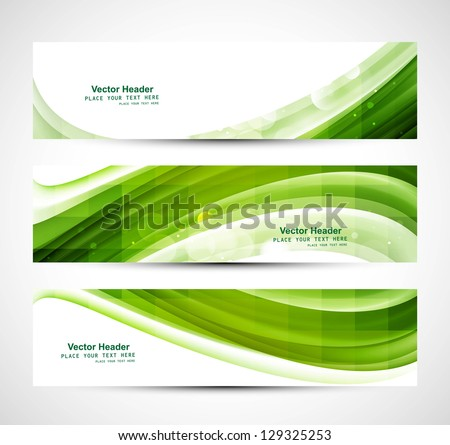 Abstract business three green wave header whit vector - stock vector