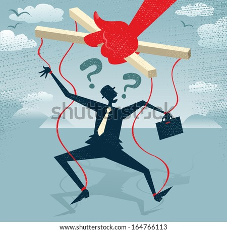 Abstract Businessman is a Puppet.  Great illustration of Retro styled Businessman caught up in bureaucratic red tape like a Puppet on a string. - stock vector