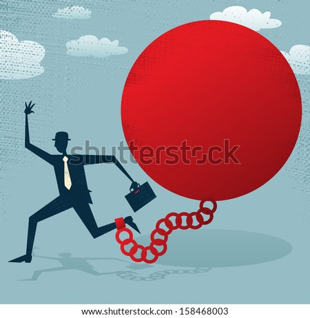Abstract Businessman locked in a Ball and Chain. Vector illustration of Retro styled Abstract Businessman caught up in a bureaucratic chain and ball. - stock vector