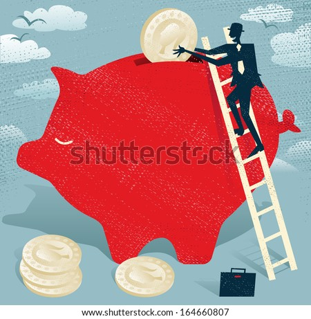 Abstract Businessman saves money in Piggy bank.  Great illustration of Retro styled Businessman climbing to the top of a giant piggy bank to save his hard earned money.  - stock vector
