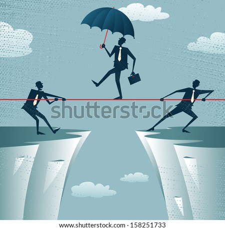 Abstract Businessmen Pulling together on a cliff. Vector illustration of Retro styled Businessmen helping and pulling together to assist their stranded colleague on the top of the cliffs. - stock vector