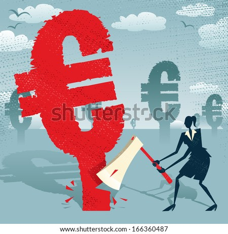 Abstract Businesswoman cuts down the Euro.  Great illustration of Retro styled Businesswoman cutting down a giant European Euro Tree with her razor sharp Axe. - stock vector