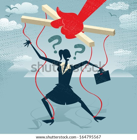 Abstract Businesswoman is a Puppet.  Great illustration of Retro styled Businesswoman caught up in bureaucratic red tape like a Puppet on a string. - stock vector