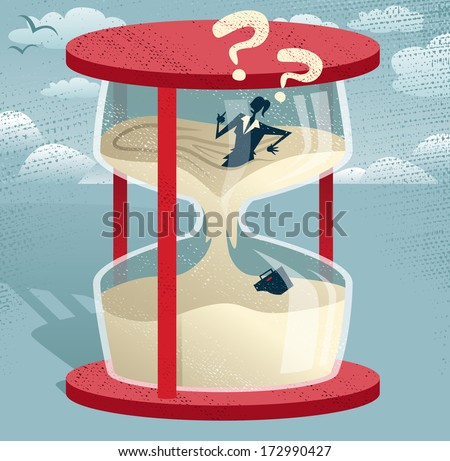 Abstract Businesswoman Trapped in Egg timer. Great illustration of Retro styled Businesswoman desperately trying to hold back time as the sands of time get the better of her.  - stock vector