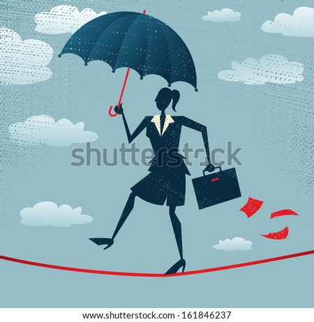 Abstract Businesswoman walks the Tightrope - stock vector