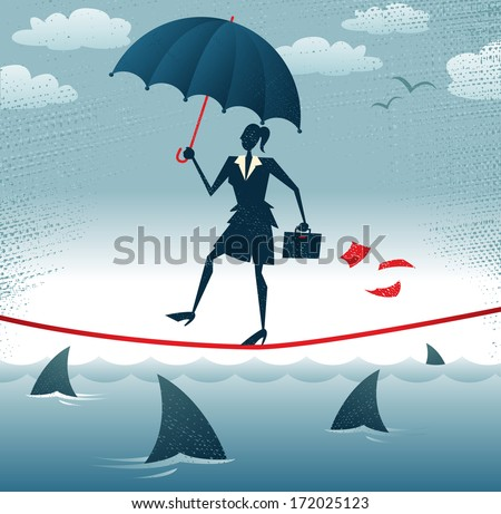 Abstract Businesswoman walks Tightrope with Confidence. Great illustration of Retro styled Businesswoman walking carefully across a very high tightrope with her umbrella for added protection.   - stock vector