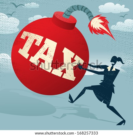 Abstract Businesswoman with Huge Tax Bomb.  Great illustration of Retro styled Businesswoman running for her dear life to get rid of the gigantic metaphorical Tax bomb. - stock vector