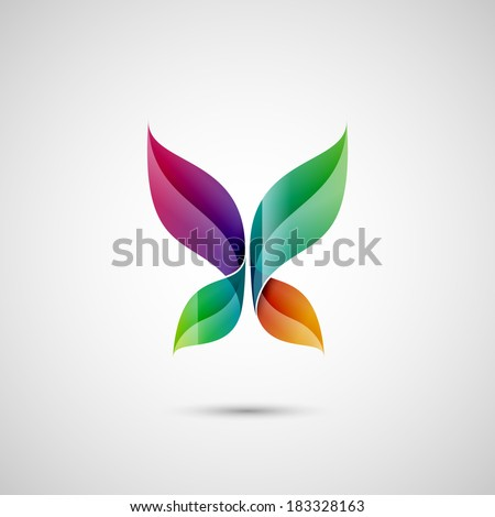 Abstract butterfly shape, eps10 vector - stock vector