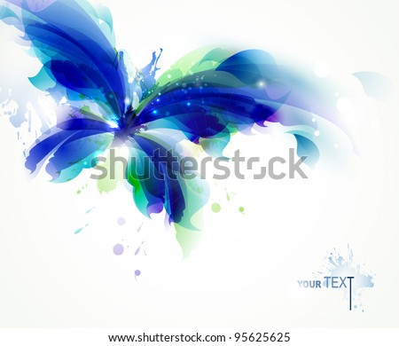Abstract   butterfly  with blue and cyan blots - stock vector