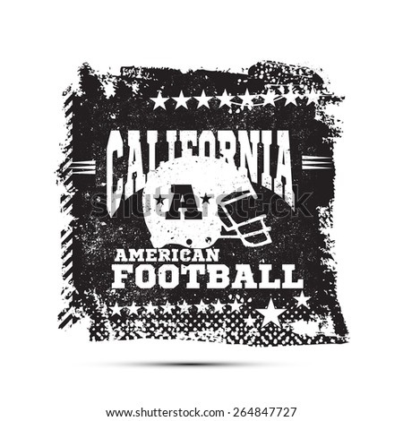 Abstract california football, t-shirt graphics. - stock vector