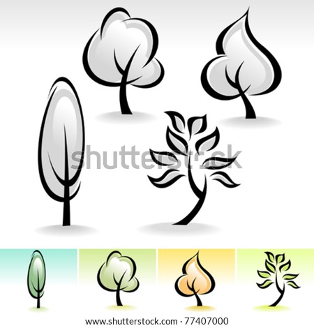 ABSTRACT CALLIGRAPHIC TREE ICON SET - stock vector