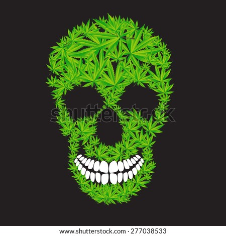 Abstract Cannabis Skull Vector Illustration EPS10 - stock vector