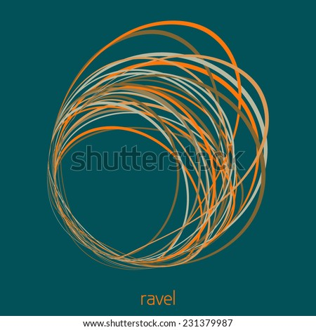 Abstract card with tangled hank of thin lines on a sherpa blue background. Vector - stock vector