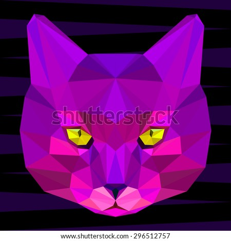 Abstract cat head. Polygonal geometric triangle bright purple portrait isolated on dark background for use in design for use in design for card, invitation, poster, banner, placard, billboard cover - stock vector