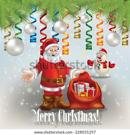 abstract celebration greeting with Santa Claus christmas gifts and snowman - stock vector