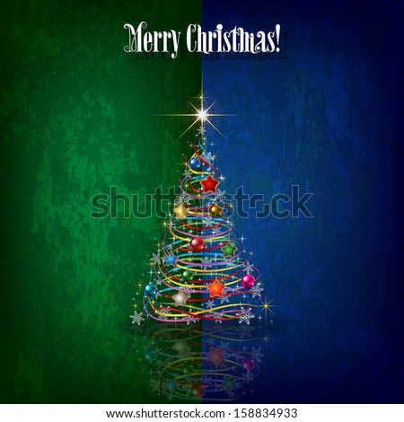 Abstract celebration grunge greeting with Christmas tree on green blue - stock vector