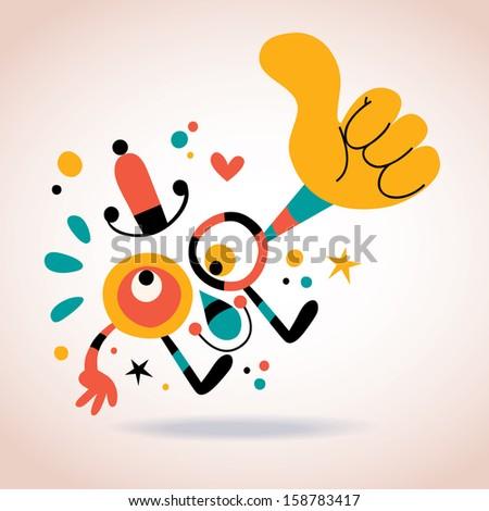 Abstract character thumb up - stock vector