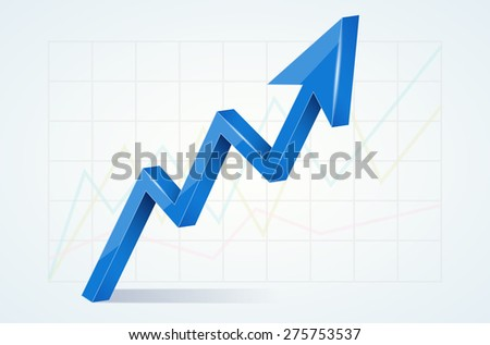 Abstract chart with 3D glossy blue arrow - vector illustration - stock vector