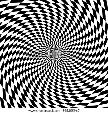 Abstract checkered  monochrome spiral background. - stock vector