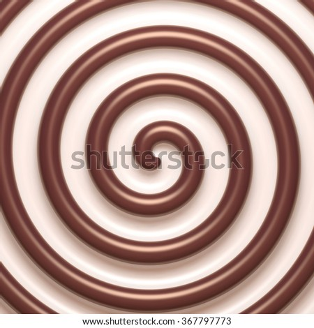 Abstract chocolate and cream spiral background. Pattern design for banner, poster, flyer, card, postcard, cover, brochure. - stock vector