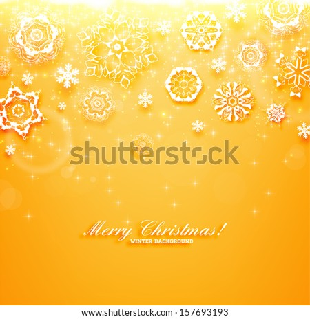 Abstract Christmas Background, vector. Orange version - stock vector