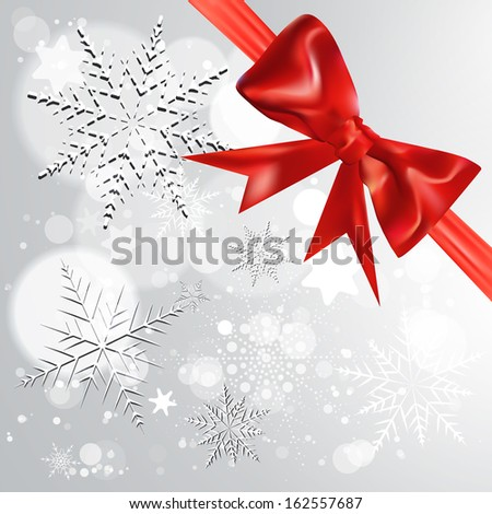 Abstract Christmas background with bow - stock vector
