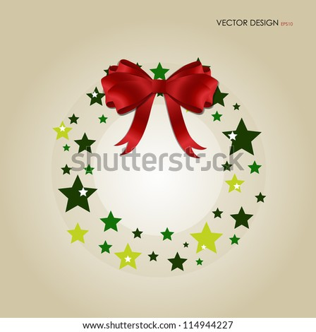 Abstract Christmas background with Christmas wreath, vector illustration. - stock vector