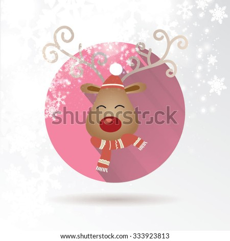 Abstract Christmas background with cute reindeer illustration. Place for text. Vector Illustration. - stock vector