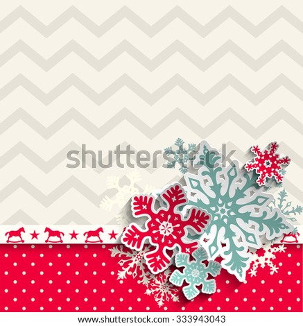 abstract christmas background with decorative snowflakes and chevron pattern, vector illustration, eps 10 with transparency - stock vector