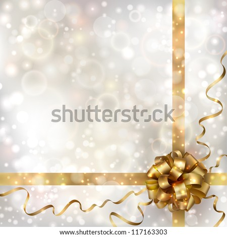 Abstract Christmas background with golden bow. EPS10 - stock vector