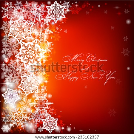 Abstract Christmas background with snowflakes. Space for text.   Red-orange background. - stock vector