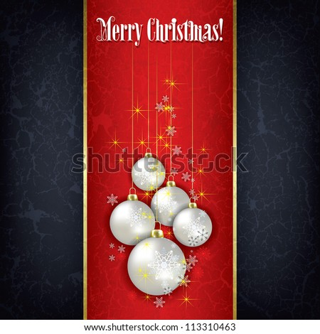 Abstract Christmas black greeting with white decorations on red - stock vector