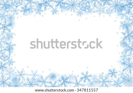 Abstract Christmas border background with blue snowflakes. - stock vector