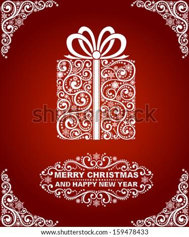 Abstract christmas card, christmas gift - stock vector